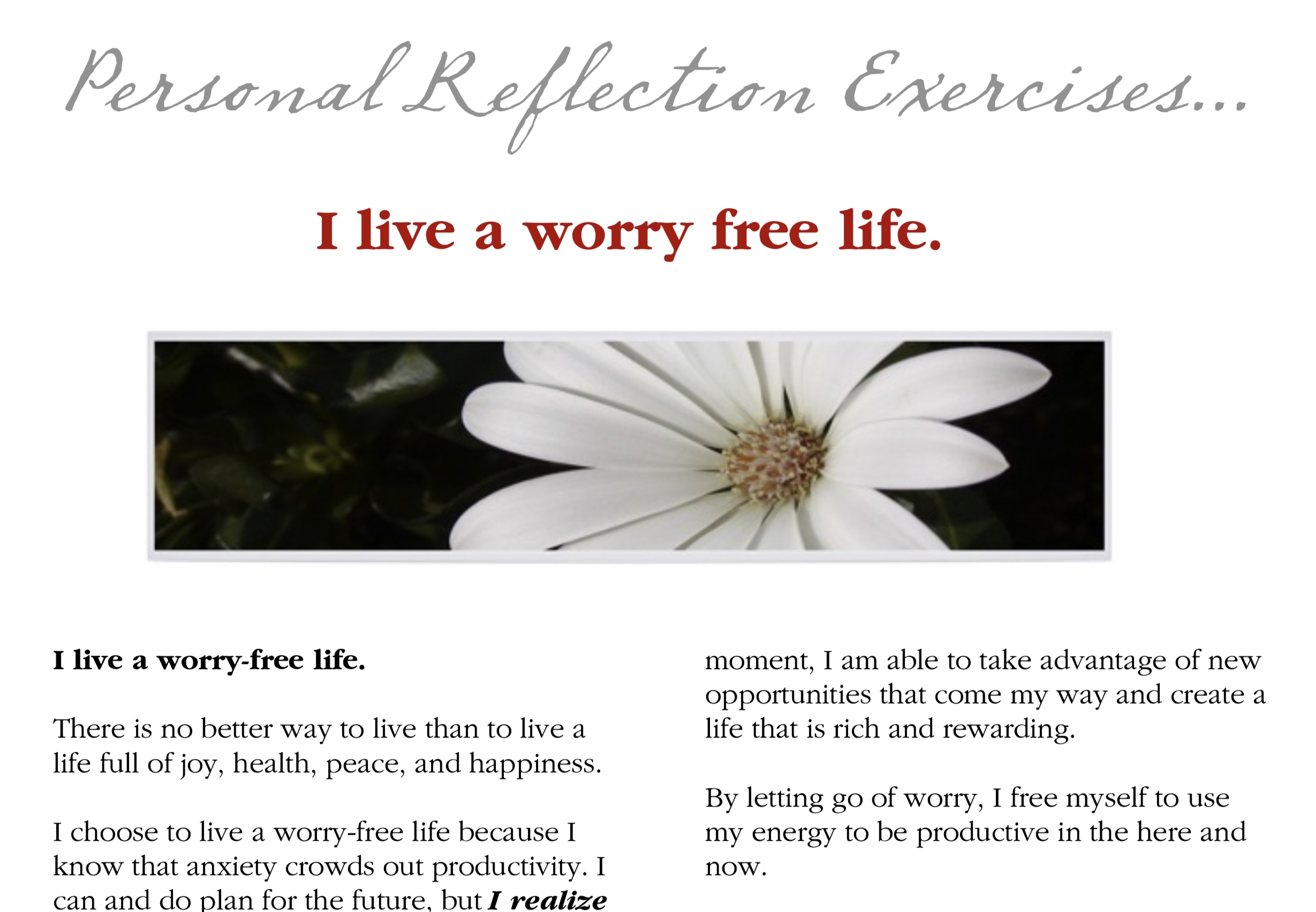 Reflections for Resiliency: I Live A Worry-Free Life